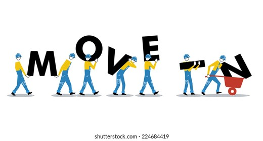 Row of workers carrying letters, Workers in uniform set of people, vector illustration