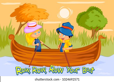 Row Row Row Your Boat, Kids English Nursery Rhymes book illustration in vector