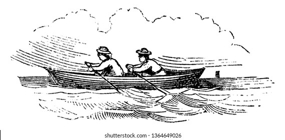Rowboat is a small boat propelled by oars, vintage line drawing or engraving illustration.