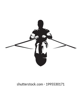 Rowing, athlete rows, front view isolated vector silhouette. Water sport logo