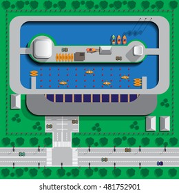 Rowing canal. View from above. Vector illustration.