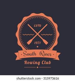 Rowing club vintage logo, emblem with crossed oars, vector, eps10