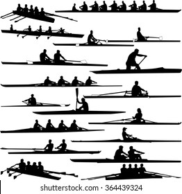 rowing collection silhouettes - vector