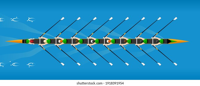 Rowing competition, the team on coxed octuple scull rowboat. Rowing boat floating on the river or lake. Color vector illustration.