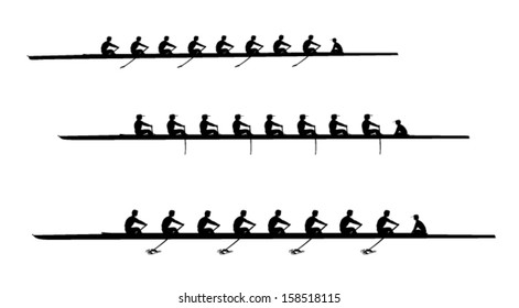 Rowing eights silhouettes