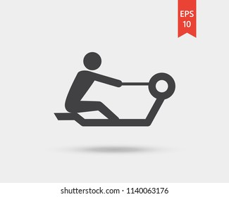 Rowing icon, rowing machine vector web icon isolated on white background, EPS 10, top view