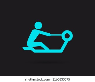 Rowing icon, rowing machine vector web icon isolated on black background, EPS 10, top view