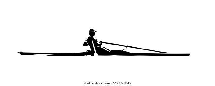Rowing, isolated vector silhouette, ink drawing