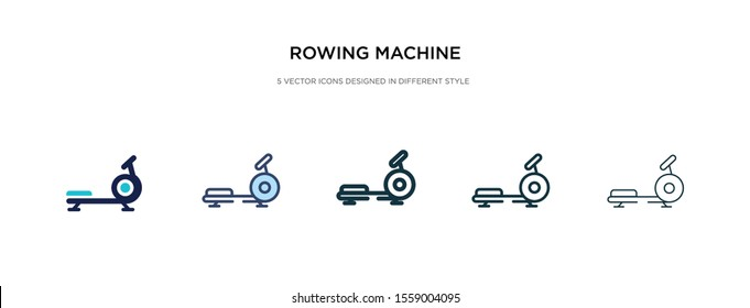 rowing machine icon in different style vector illustration. two colored and black rowing machine vector icons designed in filled, outline, line and stroke style can be used for web, mobile, ui