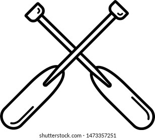 Rowing oars icon in outline style. It's  also the template for modification and customizing .
