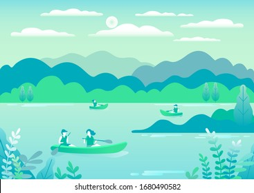 Rowing, sailing in boats as a sport or form of recreation vector flat illustration. Boating fun for all the family outdoors. Travel, go in a boat for pleasure. Landscape with lake, people go boating