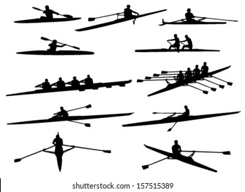 rowing silhouettes