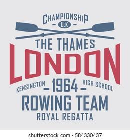 Rowing sport London typography, tee shirt graphics, vectors