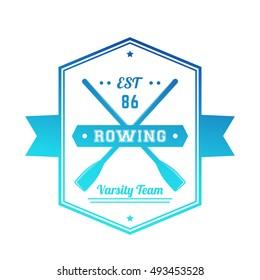 Rowing team logo, badge, emblem on white, vector illustration