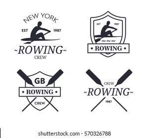 Rowing team logo. Vector emblem of rowing crew with paddles. Rower silhouette