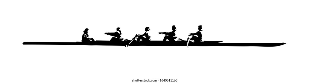 Rowing, team water sport. Isolated vector silhouette, ink drawing