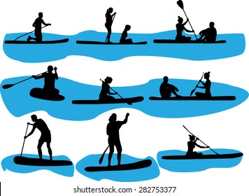 rowing vector silhouette