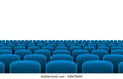Rows of Cinema or Theater Blue Seats