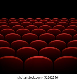 Rows of cinema or theater red seats, vector background
