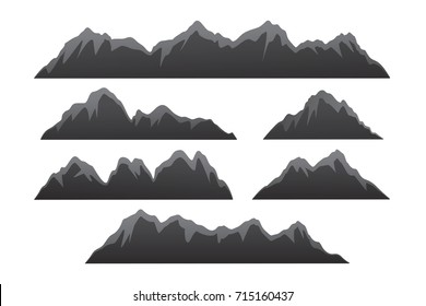 Rows of Mountains Illustration.Isolated Mountain Ranges