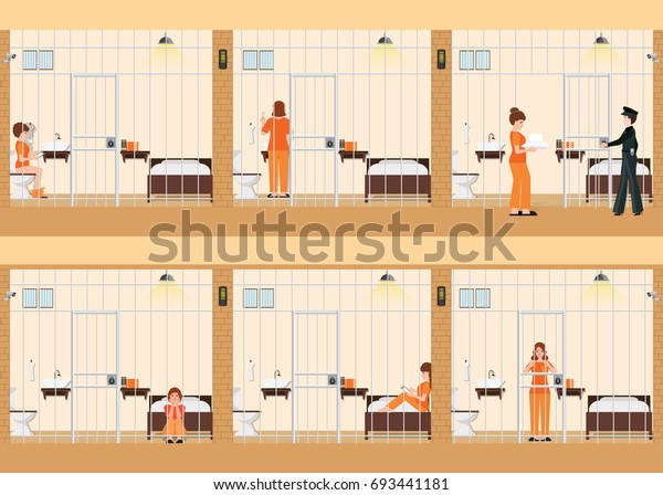 Rows Prison Cells Life Women Jail Stock Vector (Royalty Free) 693441181
