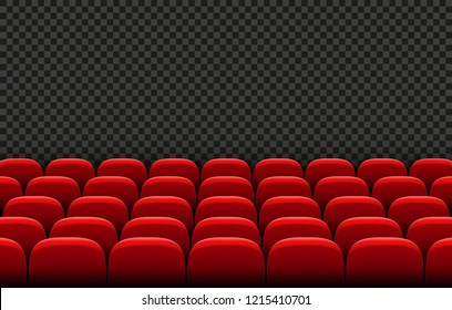 Rows of red cinema movie theater seats on transparent background, vector illustration