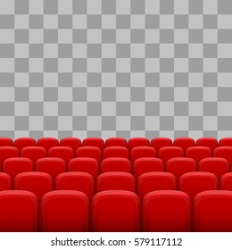 Rows of red cinema movie theater seats on transparent background. vector illustration