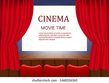 Rows of red cinema  seats in front of transparent background. Vector template banner for show with seats, popcorn, tickets. Vector illustration eps 10.