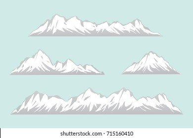 Rows of Snowy Mountains Illustration.Isolated Mountain Ranges