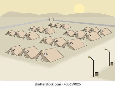 Rows of Tents concept for Army or Refugee Camp. Editable Clip Art.