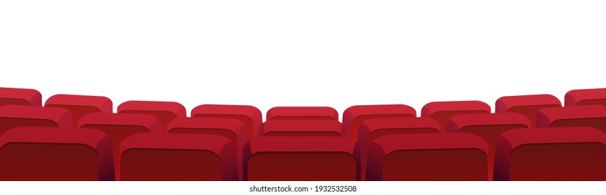 Rows of theater movie or cinema seats isolated on white. Vector blank screen, red velvet chairs in conference hall, opera or auditorium. Premier showtime comfortable seating, entertainment performance
