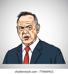Roy Moore Caricature Portrait Drawing. Hand-drawn Vector Illustration. December 14, 2017