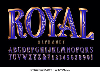 Royal alphabet; an ornate gold and purple font with 3d effects and filigreed strokes. Good for regal themes, jewelry, treasure, etc.