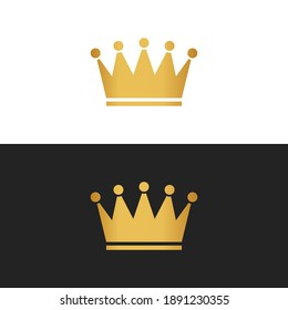 Royal attribute golden crown isolated on a white and black background, stock vector illustration