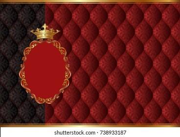 royal background with golden frame and vintage pattern