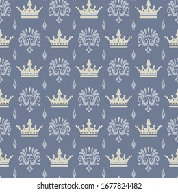 Royal background pattern on gray. Seamless pattern for your design.