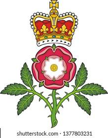 Royal badge of England.Heraldic Tudor rose and S.Edward's Crown . Vector