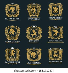Royal badges and emblems of vector golden shields with heraldic lions, crowns and eagle, king or knight swords, pegasus and griffins, castle towers and fleur-de-lis. Coat of arms, heraldry themes