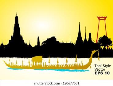 Royal Barge Suphannahong, Wat Arun, Bangkok, Vector