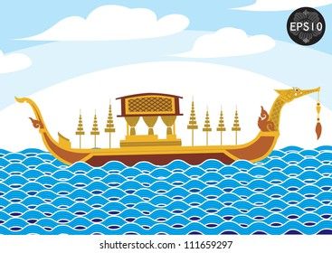 Royal Barge Suphannahongse in tradition art, Vector, Vector, Thailand,