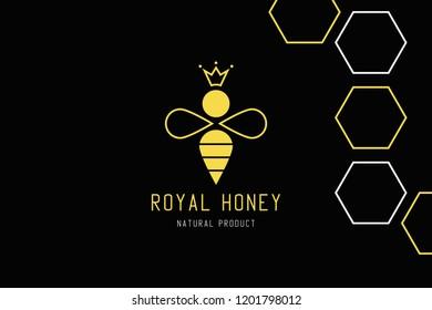 Royal bee logo design. Creative honey concept. Elegant food template.