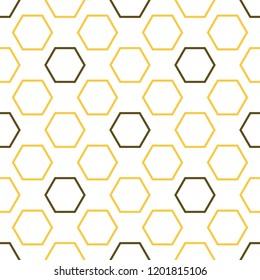 Royal bee seamless pattern. Creative honey texture of yellow and brown hexagon shapes on light background. Elegant food illustration.