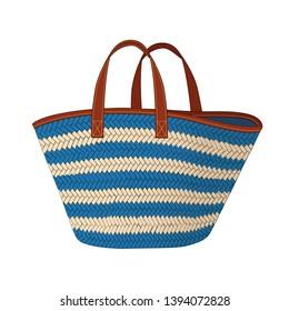 a890f6c19 royal blue and khaki stripes straw bag, shopping tote bag, colorful summer beach  bag
