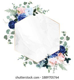 Royal blue, navy garden rose, blush pink hydrangea flowers, anemone, thistle, eucalyptus, vector design marble frame. Textured card. Eucalyptus, greenery. Floral geometric style. Isolated and editable
