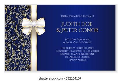 Royal blue romantic wedding announcement with golden floral ornament