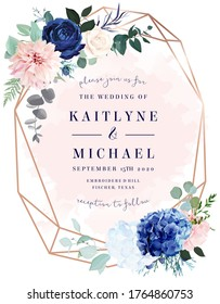 Royal blue rose, white hydrangea, dahlia, eucalyptus, juniper vector design frame.Stylish pink gold geometry. Watercolor style.Wedding seasonal flower card. Floral composition. Isolated and editable