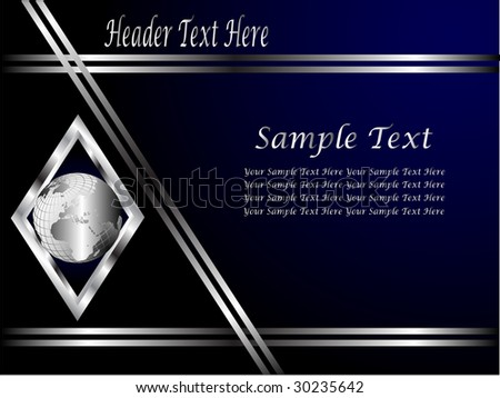 A Royal Blue And Silver Vector Business Card Or Background Template With Globe In