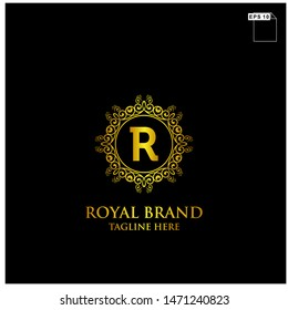 royal brand name logo design concept with floral and elemnt gold color and black background