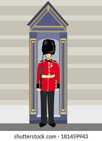 royal British guardsman holding a rifle and standing near a guard box