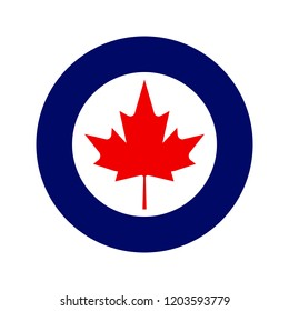 Royal Canadian Air Force or RCAF military roundel with large maple leaf in center.